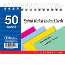 "50 Ct. Spiral Bound 3"" X 5"" Ruled Colored Index Card"