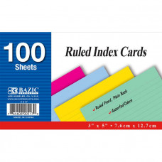 "Ruled Colored Index Card, 100 Ct. 3"" X 5"""
