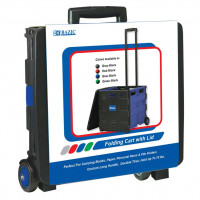 "Blue Folding Cart On Wheels W/Lid Cover, 16"" X 18"" X 15"""