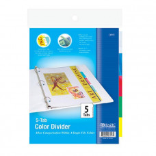 3-Ring Binder Dividers W/ 5-Insertable Color Tabs